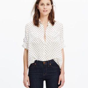 madewell Cream Silk Courier Shirt Top Foulard Dots